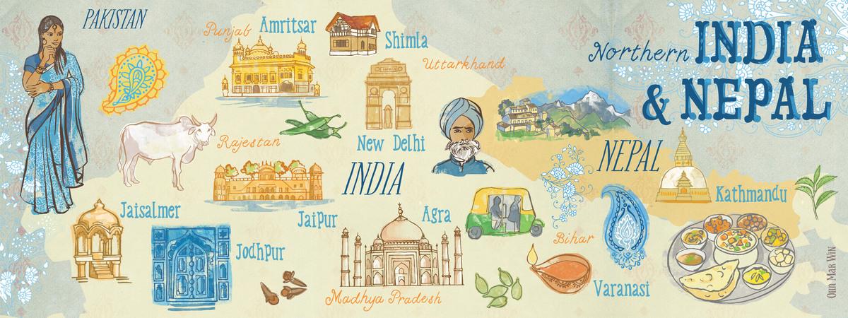 hindistan haritasi gezilecek yerler (theydrawandtravel)