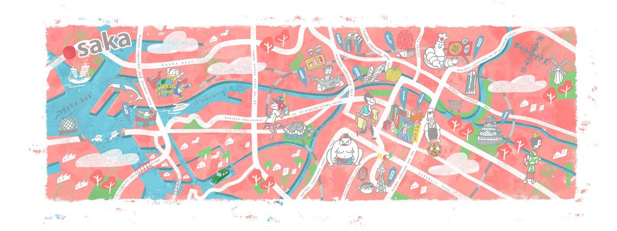 Osaka - japonya gezilecek yerler - ilüstratör : liew sio yean
