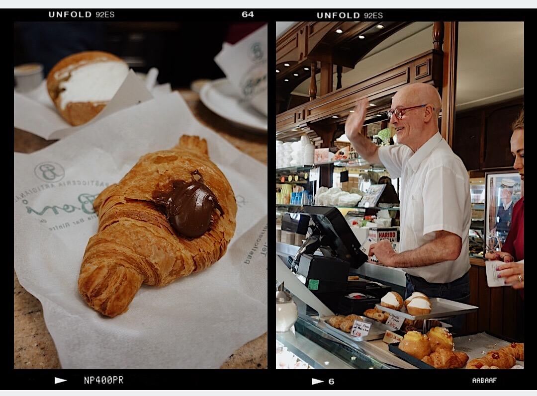 Roma'da kruvasan ve kahve ile kahvaltı